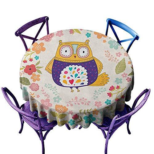 familytaste Owl,Tabletop Decoration Round Tablecloth D 70