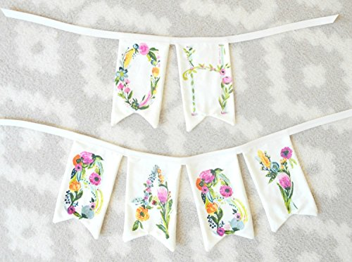 Floral Name Banner, Floral Name Bunting, Custom Name