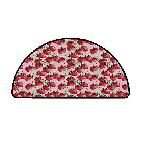 Red Comfortable Semicircle Mat,Delicious Big Strawberries on Pink Background Tasty Juicy Sweet Ripe Summer Fruits for Living Room,23.6