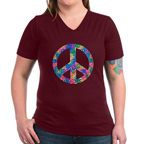 (Royal Lion Women's V-Neck Dark T-Shirt Peace Symbols Inside Tye Dye Symbol - Garnet, XL)
