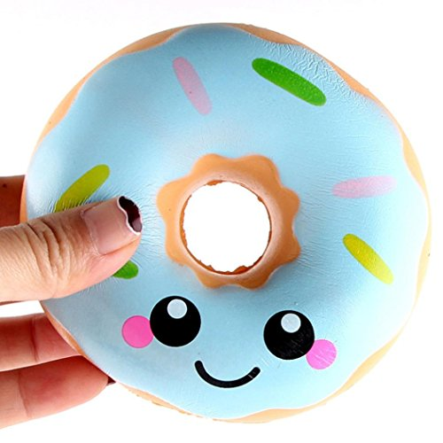 - REYO Soft Squishy Toys 1 Cent Item 11cm Lovely Doughnut Cream Squishy Squeeze Stress Reliever Simulation Cheese Scented Slow Rising Toys (Blue, 1 pcs)
