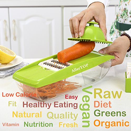 Mandoline Slicer - MultiPurpose - For Vegetable - Fruit - Cheese - Ham - Sausage - With 5 Top Quality Stainless Steel Blades - Food Container - Guided Cover - Safety Hand Guard + Peeler