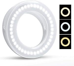 Selfie Ring Light, SHEGINEL Rechargeable Cell Phone Ring Light 3 Tones Selfie Fill Light with 40 LED Beads Makeup Light Ring for Selfie, Photography, Livestream