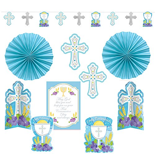 Amscan First Communion Blue Paper Decorating Kit, 10 Ct. | Party Decoration