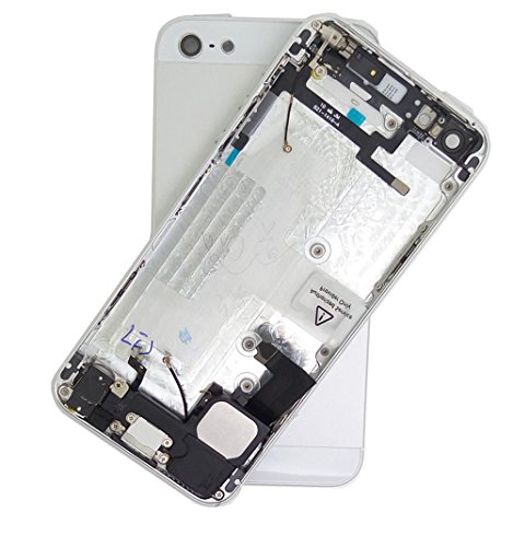 for iPhone 5/5G Full Housing Assembly Rear Housing With Logo Back Metal Cover Case Battery Door Complete Full Assembly with Small Parts Replacement,Silver