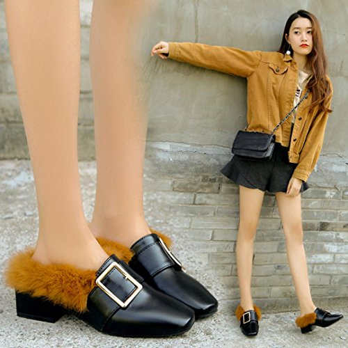 Artificial Hunpta Boots Woolen Womens Nere High Slippers Heel Shoes Block Scarpe wwrqCS