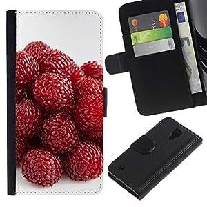 Be Good Phone Accessory // Caso del tirón Billetera de Cuero Titular de la tarjeta Carcasa Funda de Protección para Samsung Galaxy S4 IV I9500 // Strawberry
