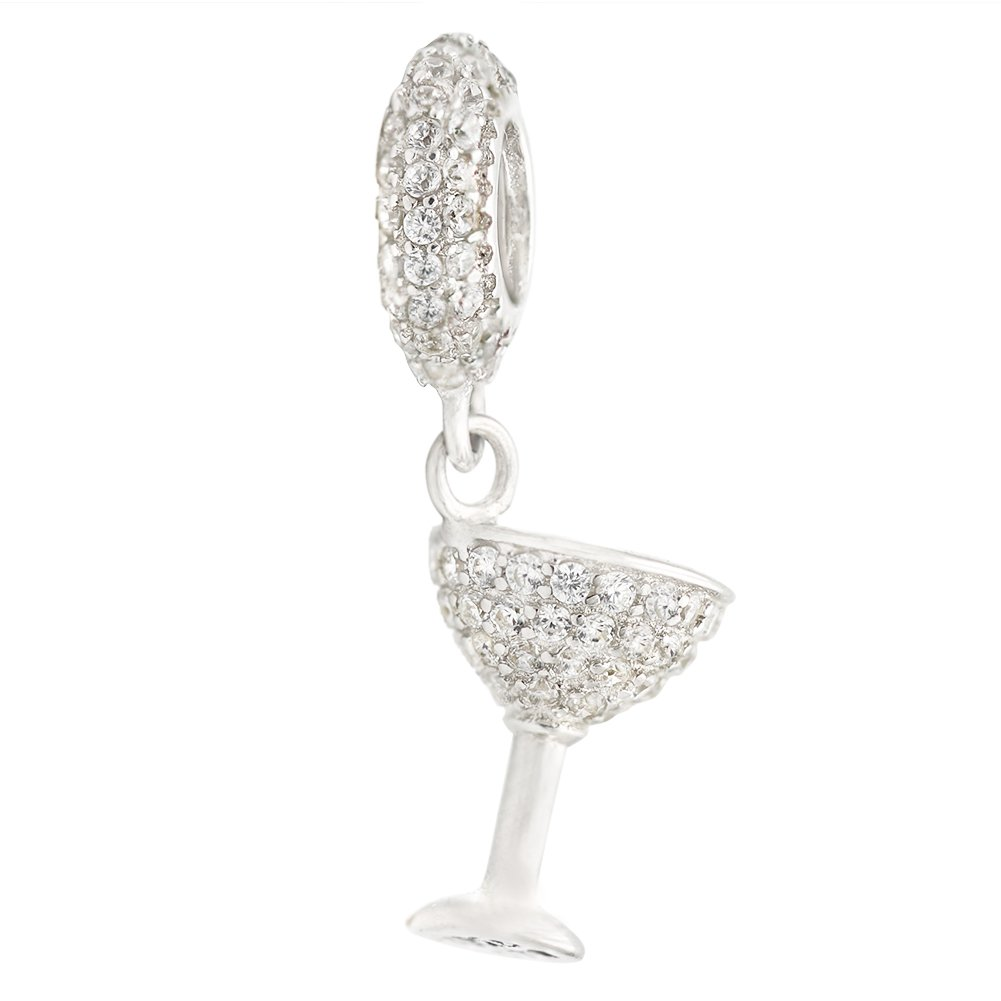 COTO Sterling Silver Clear Cubic Zirconia Wine Glass Cup Dangle Bead For European Charm Bracelets