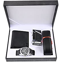 Souarts Mens Artificial Leather Watch Set Belt Wallet Key Chain Gift Set with Box Organizer Gifts for Men (Black)