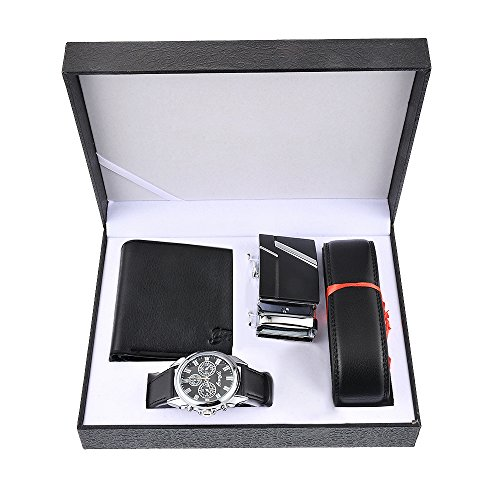 Souarts Gift-for-Men-Watches Set for Men Artificial Leather Watch-Rachet Belt-Wallet Gift Set with Box Organizer(Black)