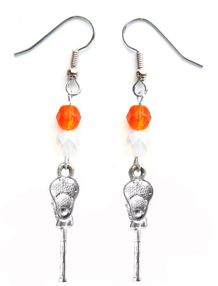 ''Lacrosse Stick & Ball'' Lacrosse Earrings (Team Colors Orange & White)