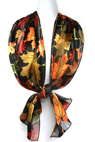 Imagine-If-Silk-Feel-Scarf-Vibrant-Autumn-Leaves-on-Black