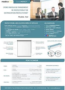Estor enrollable transparente de protecci/ón y distancia ProtectStore