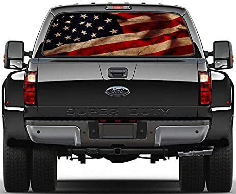American flag vintage rear window graphic decal sticker car truck suv van us 214 custom
