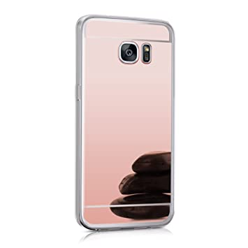 kwmobile Funda para Samsung Galaxy S7 Edge - Carcasa Protectora [Trasera] de [TPU] para móvil en [Oro Rosa con Efecto Espejo]