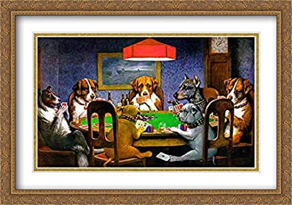 869c7ec24fd A Friend in Need Dogs Playing Poker 2X Matted 40x28 Large Gold Ornate  Framed Art