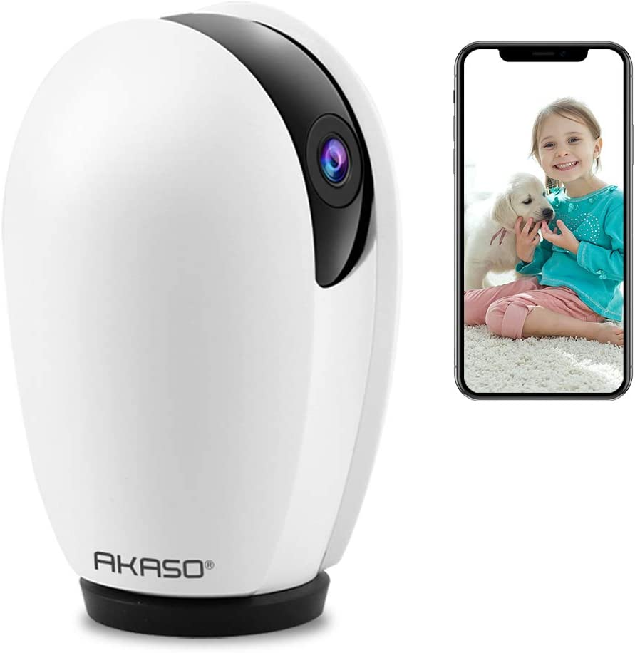 AKASO WiFi Camera 1080P, Works with Alexa Google Assistant, Pet Camera Dog Camera, Indoor Home Security Camera Baby Monitor, Pan Tilt Rotation, Motion Sound Detection, 2 Way Audio, Night Vision, P30