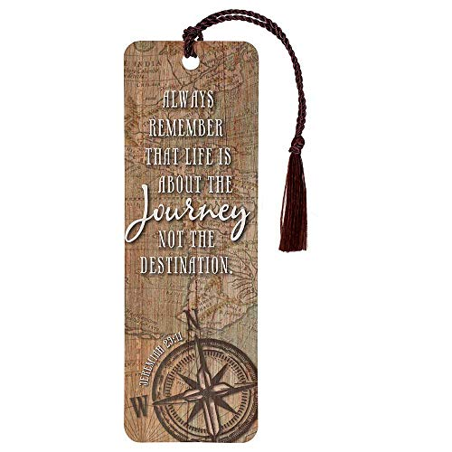 Life About The Journey Compass Aged Map Cardstock Tassel Bookmarks, Pack of 12