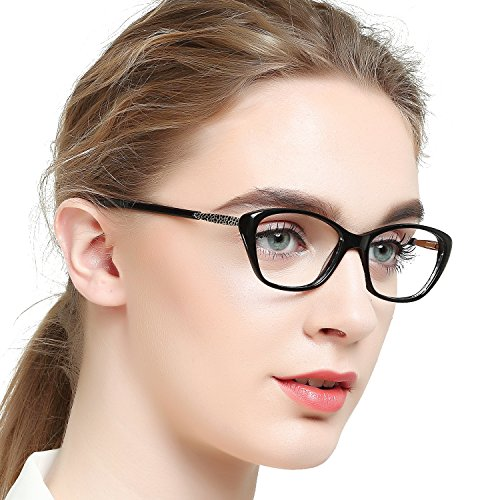 OCCI CHIARI Women Casual Non-Prescription Eyewear Frames Clear Lens Eyeglasses 50-17-140(Black)