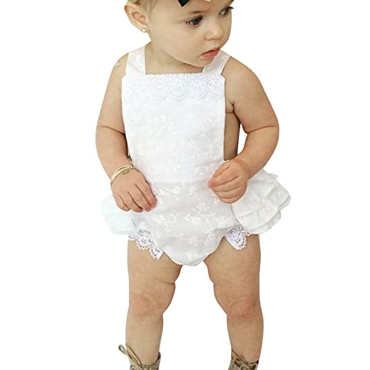 2d4810b85a chinatera Baby Kids Children Girls Sleeveless White Lace Rompers Jumpsuit  Bodysuit Outfit (100  95