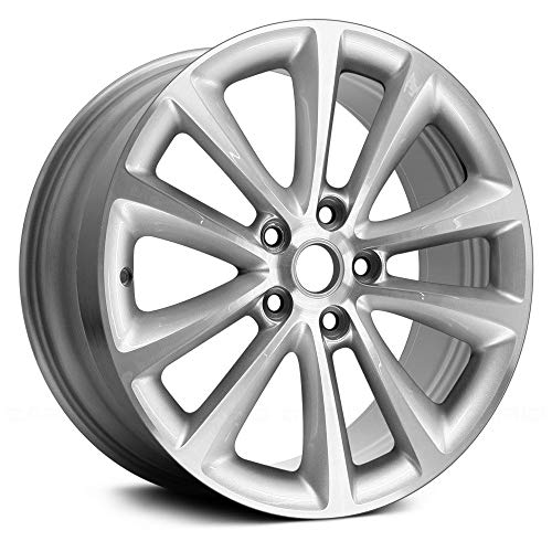 Replacement X 8, 5 Double Spoke Buick Alloy Wheel Machined and Silver Fits Buick Verano