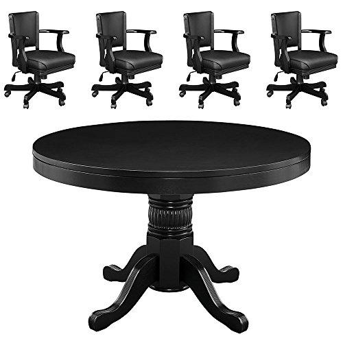 ブラック48` 2in 1ゲームテーブルand 4Matching椅子