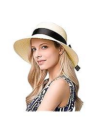 EINSKEY Womens Straw Hat Summer Wide Brim Sun Hat Packable Panama Fedora Hat