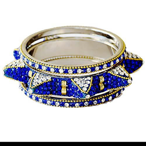 Marge K Designs Handmade Costume Sapphire and Diamond Bangle Bracelets (Set of 3) Almost Impossible to Copy Exclusive Amazon Design