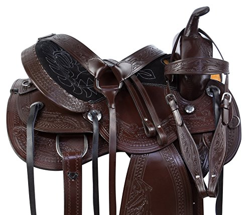 CHESTNUT OIL COWHIDE WESTERN LEATHER HORSE SADDLE COMFY SEAT PLEASURE TRAIL BARREL RACING HAND TOOLED PREMIUM SADDLE TACK SET BRIDLE BREAST COLLAR (17) (Tooled Tack)