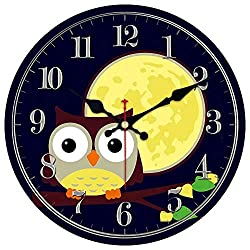MEISTAR Cute Cartoon Style Home Wall Clock for Kids Room and Children Room Decoration, Wooden Big 14 Inch Owl Design Wall Clock for Kitchen,Study Room