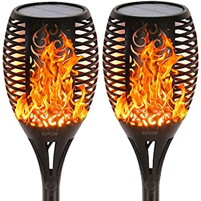 Eoyizw Solar Flame Torches Lights Flickering Dancing Landscape Lanterns Dusk to Dawn Auto On Off 99 LEDs IP65 Waterproof Pathway Garden Yard Walkway Lawn Patio Decorative Outdoor Portable Camping Lamp
