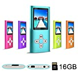 RHDTShop Portable MP3 MP4 Player,Support 32GB Card Mayer Ultra Slim LCD Screenaximum, Digital Music Video Media Pl, Noise canceling Volume Control,USB 2.0 Cable,with Micro SD Card 16G,Blue