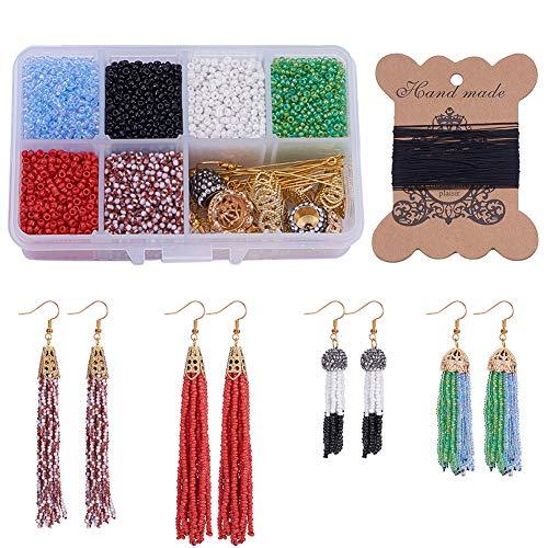 SUNNYCLUE 1 Box DIY 6 Pairs Beaded Tassel Earrings Boho Long Fringe Drop Dangle Earrings Making Kit Art Crafts Making Supplies for Girls Women -