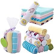 UNKE 8Pcs Baby Infant Newborn Bath Towel Washcloth Bathing Feeding Wipe Cloth Soft