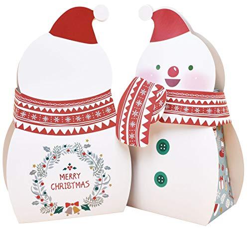 ZEALAX Christmas Candy Boxes Party Favors – 10pcs Snowman Bakery Goody Treat Box Xmas Decorations -