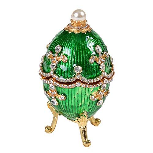 MICG Bejeweled Ring Holder Faberge Style Green Egg Trinke...