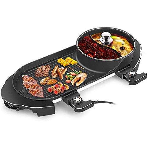 CHENJIU BBQ Grill Hot Pot, Multi-Function Electric Barbecue Oven and Hot Pot with 5 Adjustable Electric Power Ideal for 2-5 Person Weekend Family Friend Party