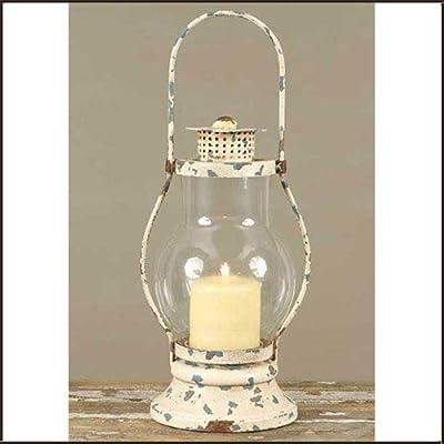 Vintage Style Distressed White Railway Hurricane Lantern Candleholder Candle Holder