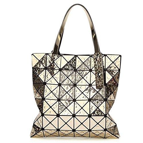 À Géométrique Pack PU Rhombique Cuir Femmes Gouttelette En Sac Main Fourre Tout Gold Mode Sacs qn7PR57