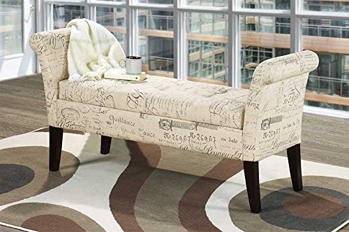 French Beige Fabric Storage Bench Import Furniture