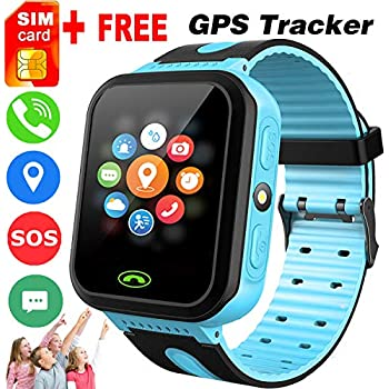 Kids Smart Watch -[SIM Card Include] Smart Phone Watch for 3-12 Year Old Boys Girls with GPS Locator 1.5 HD Touch Screen Fitness Tracker SOS Camera Game ...