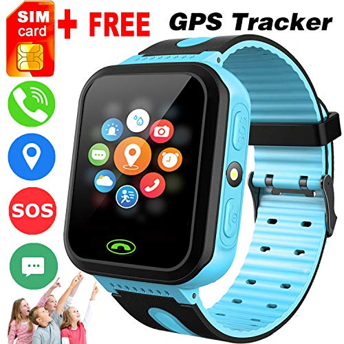 Kids Smart Watch -[SIM Card Include] Smart Phone Watch for 3-12 Year Old Boys Girls with GPS Locator 1.5'' HD Touch Screen Fitness Tracker SOS Camera Game Flashlight Alarm Clock Summer Gift