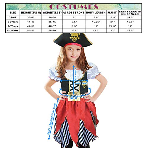 Lingway Toys Girls Deluxe Pirate Buccanner Princess Costume for Kids Size3-4, 5-6,7-8,9-10 (5-6) - http://coolthings.us