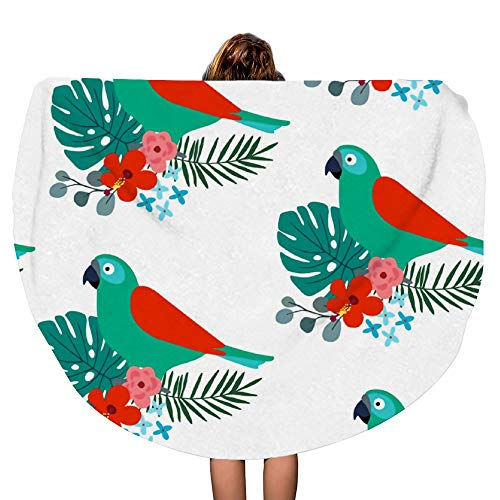 - SARA NELL Thick Round 60 Inch Bath Towel Beach Towel Blanket - Tropical Jungle Pattern with Parrot Bird Beach Picnic Carpet Yoga Mat - Ultra Soft Super Water Absorbent Multi-Purpose Towel