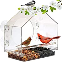 Nature Anywhere Window Bird House Feeder with Sliding Seed Holder and 4 Extra Strong Suction Cups. Large Outdoor...