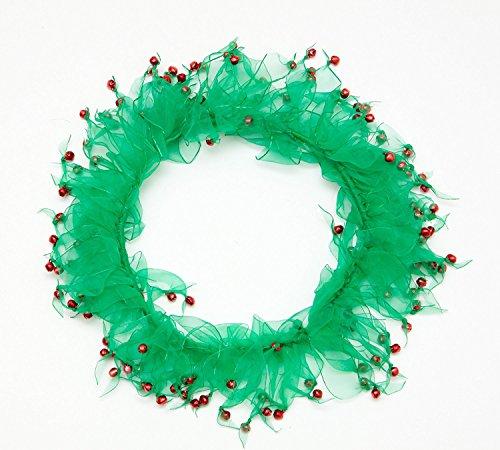 Christmas Ribbon Dog Pet Collar (Midlee Wreath Jingle Bell Decorative Dog Collar (Large))
