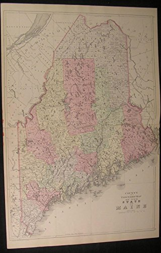 (Maine Washington & Cumberland County 1882 antique engraved hand color)
