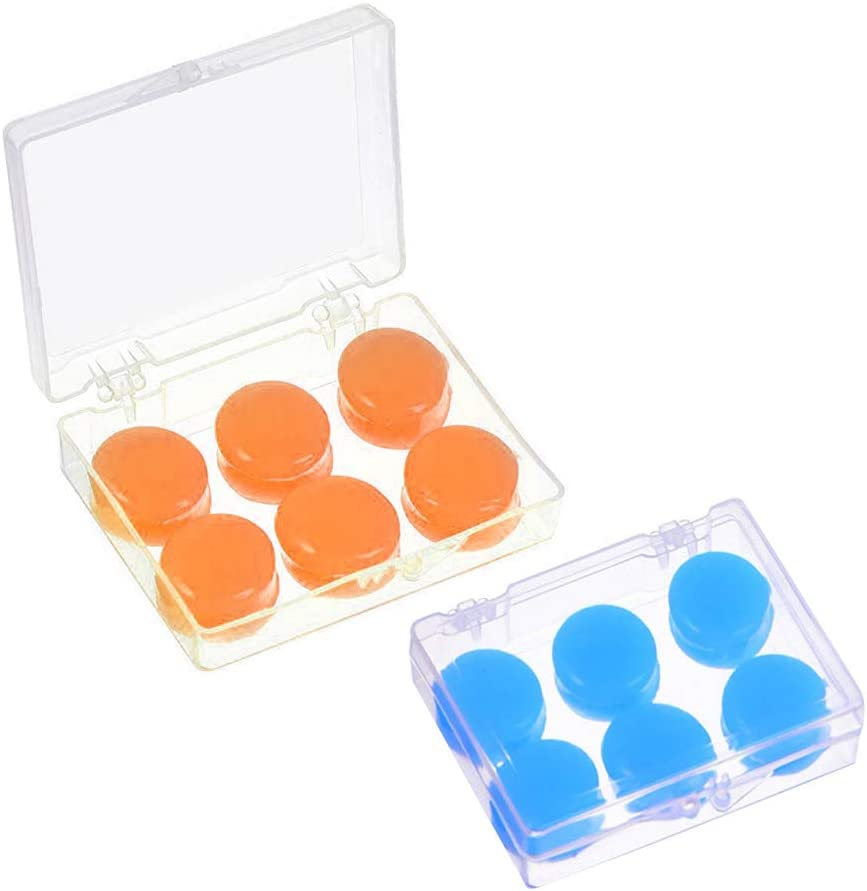 12 PCS Silicone Ear Plugs Soft Protective Waterproof Noise Cancelling Putty Ear Plugs Moldable Earplugs Set with 2 Clear Storage Boxes for Swimming Sleeping