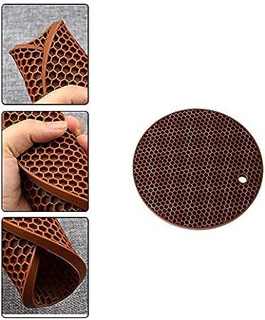 Nikgic Silicone Ronde Nid dabeille Coaster Set de Table Tapis Isolant Protection de Bureau 17cm Rose 8mm