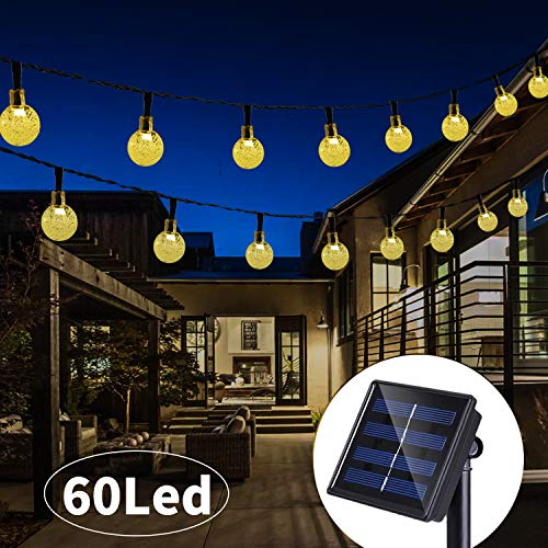 Solar String Lights 33 Feet 60 LED Outdoor Crystal Balls Waterproof Globe Fairy Lights 8 Modes Decoration Light for Patio Lawn Garden Wedding Party Home Yard Lawn Holiday (Warm White) (Lights String Globe Solar)